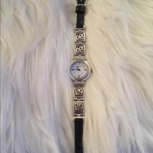 Brighton Watch with Thin Black Leather Band